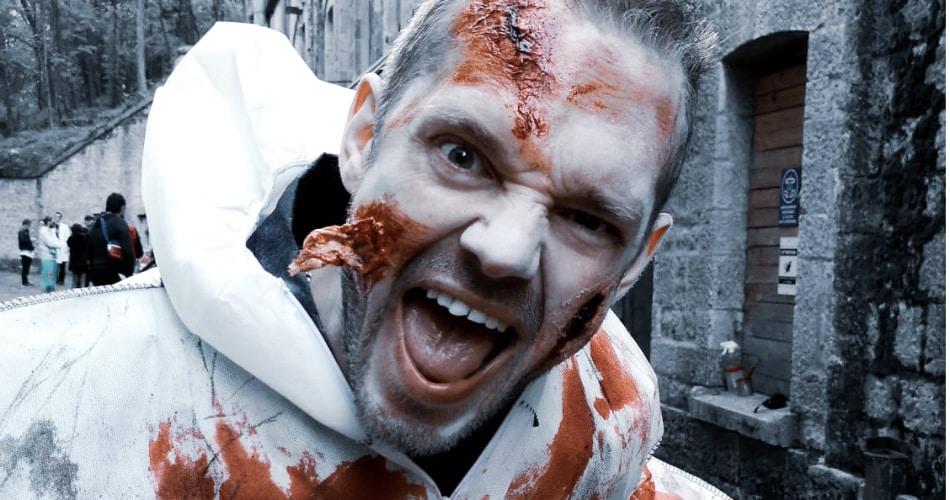 zombie qui crie lors de la course de zombies de vanciaventure